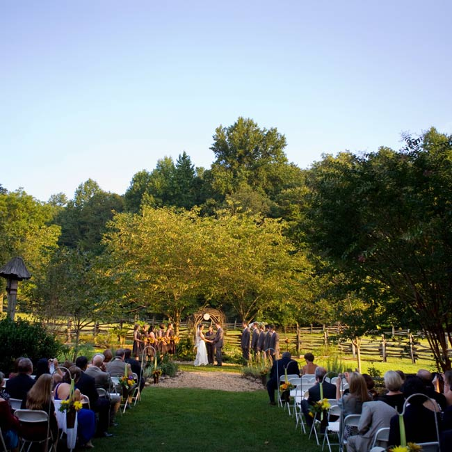 The highly personalized service included vows the couple wrote themselves and the bride's sister as the officiant. She got ordained online specifically for the occasion.