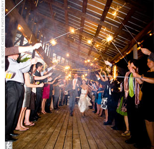 Allyson and Pearce left the reception beneath an arch of glowing sparklers. &quot;They were four-feet long and seemed to burn forever, so we had a ton of time to get the best farewell shot,&quot; says Allyson.