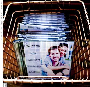 The couple&#39;s favorite songs burned onto CDs served as favors.