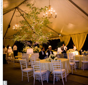 In addition to traditional table seating, guests could take a break from the dance floor on one of the benches or couches under the tent. The casual seating options kept the mood relaxed.