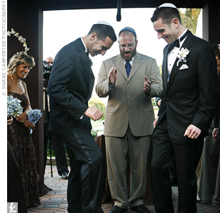 At the end of their wedding ceremony, Brian and Josh both broke the glass to represent a shared responsibility in their marriage.