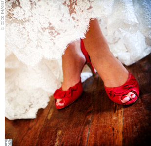 The bride wore bold red shoes to go with her favorite &quot;Angel Red&quot; lipstick by Clinique. The bridesmaids loved the vintage look so much, they borrowed the lipstick to coordinate with their bouquets.