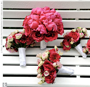 The bouquets coordinated with Sara and Bryan's wedding colors: fuchsia and black. Sara carried a bouquet composed of pink roses and tulips, while her bridesmaids carried smaller bouquets of pink and white flowers.