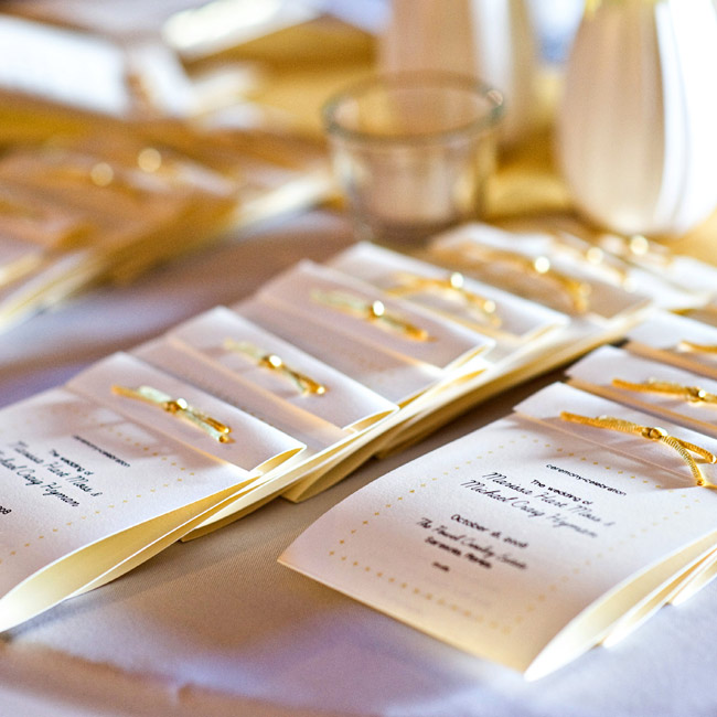The bride purchased cards at The Paper Source and printed the ceremony information at home.