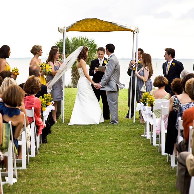Marissa is Catholic and Michael is Jewish, but neither felt strongly about having a religious ceremony. Instead, Marissa wrote a personalized ceremony from start to finish and had her uncle, who became ordained online, officiate.