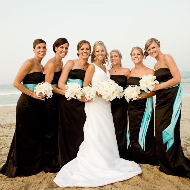Brown And Turquoise Bridesmaid Dresses