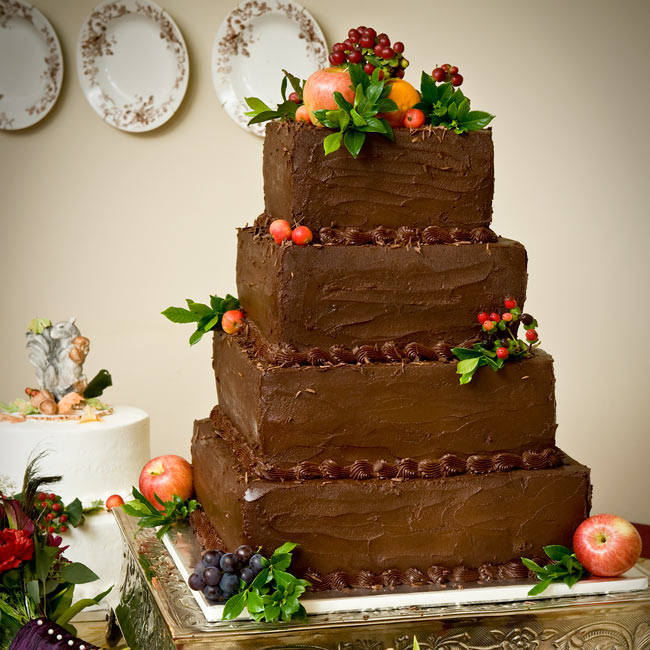 A chocolate-lovers dream, dark chocolate fondant covered layers of tiramisu and kahlua mocha chip cake. Fresh fruit and greenery complemented the natural surroundings.
