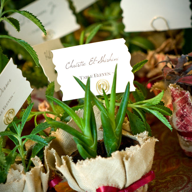 Potted succulent plants wrapped in burlap doubled as escort cards. The picot-edged ribbon ties gave the favors an old-world appeal.