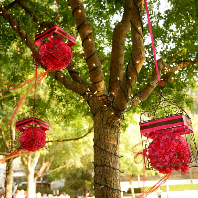 Guests were invited to write messages to the couple and hang them by the attached ribbon to the wish tree. The potted Manzanita branches and hanging crystals provided more décor than a guestbook could have.