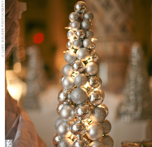 Sparkling miniature trees added to the reception's silver ornament motif.