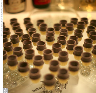 After dinner, dessert liqueurs were served in chocolate cups.