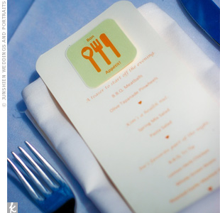 The handmade menus featured another custom logo in the chosen wedding colors.