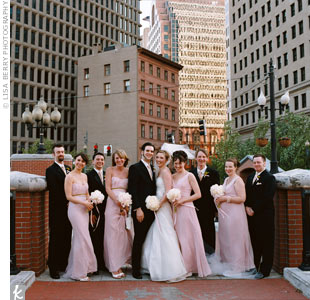 Grey Groomsmen and Pink Bridesmaids – any pictures?
