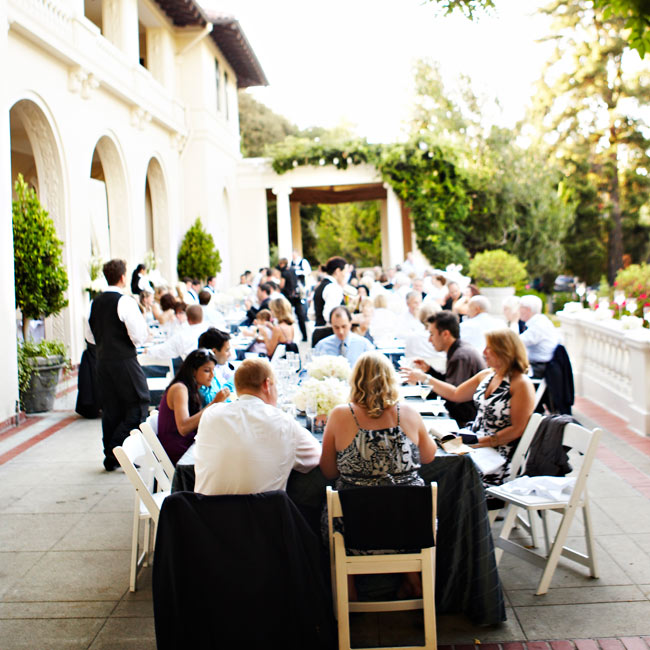 "Guests dined on a patio at Villa Montalvo, an historic home Hilary had visited years before for a Train concert. ""I knew then that I wanted to get married there, even though I didn't know Jeff yet!"" she says."