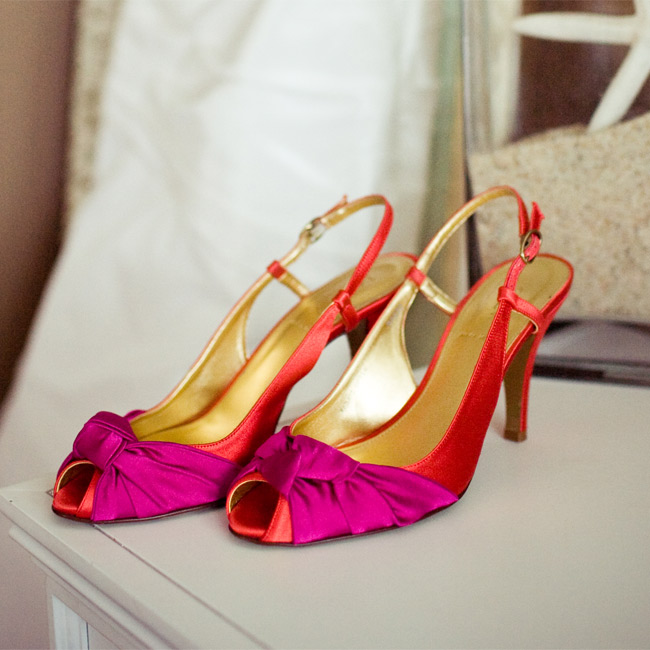 Bright satin shoes added a playful edge to Melanie's sophisticated look.