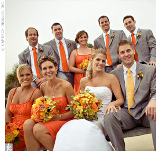 Yellow Bridesmaid Dresses Gray Suits 95