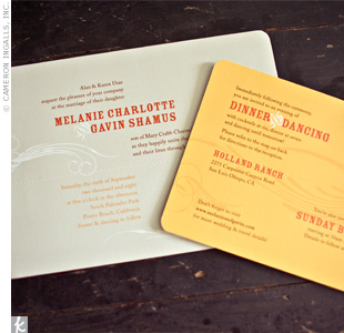 Melanie used her graphic design background to create one-of-a-kind grey invites with a white swirl pattern and a casual, country-style type. A yellow dinner reception card mimicked the design.