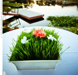 With a lake next to the reception site, along with lush landscaping all around, guests enjoyed a serene, natural atmosphere during the entire wedding day.