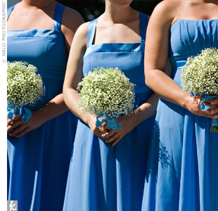For an airy, natural style, Crystal's maids carried simple bundles of baby's breath wrapped with cornflower-blue ribbon.