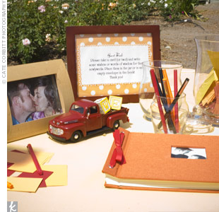 The handmade guest book was filled with tiny envelopes. At the reception, Erika and Wayne's guests were encouraged to tuck notes for the couple into the envelopes.