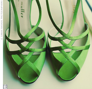 Ann added a splash of color to her ensemble with green satin shoes.