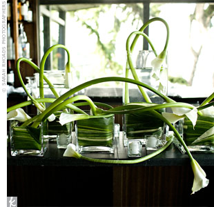 A beautiful calla lily arrangement was created for the bar.