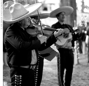 "After a recessional to ""The Wedding March,"" by Mendelssohn, a mariachi band played upbeat music to get the party started."