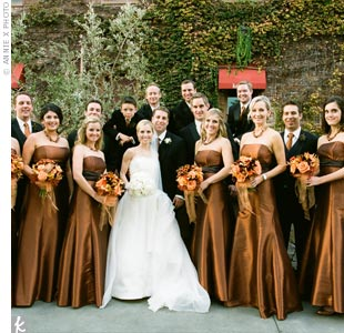 Melanies bridesmaids wore strapless luminescent taffeta dresses by Watters &amp; Watters with full skirts and chocolate taffeta sashes. The groomsmen coordinated in copper-colored silk ties.
