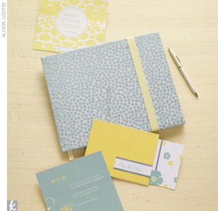 For your guest book, cover a plain journal with a punchy fabric and create a bookmark with sunny grosgrain ribbon to entice guests to sign. Use aqua and yellow save-the-dates to give guests a sneak peek of what's to come.