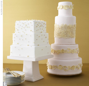 Give a modern square shape a soft, elegant spin with cascading sugar pearls, or make a round cake special with sugar lace appliqués.