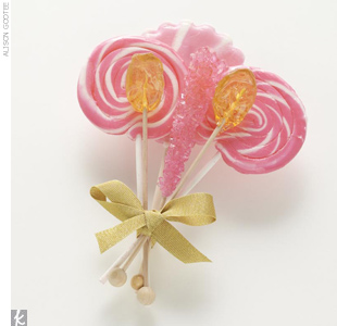 Give favors with a sweetly vintage touch, like rock candy and lollipops. Tie small bundles together with gold ribbon and leave one at each place setting.