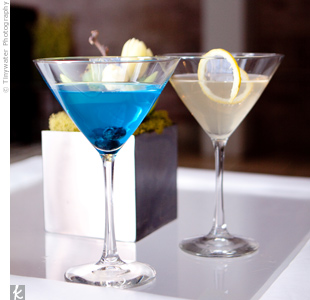 Two signature sips were featured: a brilliant blue Kamikaze and a tart white cranberry cocktail.