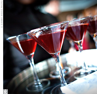 Servers passed trays of pomegranate martinis, which were chosen to fit in with the color scheme.