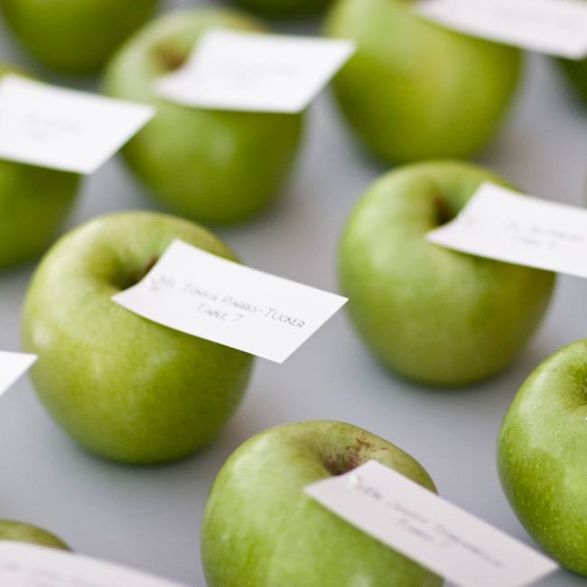 The green part of the color scheme was out in full force in the escort card display. The cards were pinned to locally-grown granny smith apples.