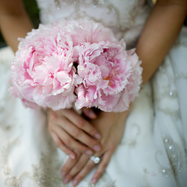 """I wanted my wedding to be peony heaven,"" says the bride. She achieved that with her lighter-than-air Sarah Bernhardt peony bouquet."