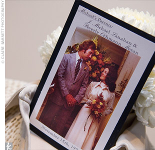 To each dress, Angela added a card with a photo of the couple from their wedding day and some details about them.