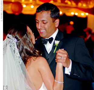 The newlyweds shared their first dance to By Your Side, by Sade, which was performed by a local band called Heart &amp; Soul.