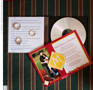 "Allison and Josh incorporated their baseball theme into their invitations. The invites, which Allison designed, included one of their engagement pictures -- the two of them over home plate -- and an ""M"" for Josh's last name inside a baseball diamond. They also introduced a cute slogan for the wedding: ""In your arms…I'm safe at home."""