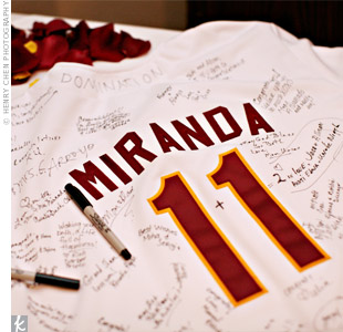 In lieu of a traditional guest book, Allison and Josh asked their guests to sign a custom baseball jersey with the number 11 on it to signify their November wedding month. Later that month, they had a second reception in New Mexico and had guests there sign a jersey with the number 7 (for their wedding day). Now they hang them side by side in their ...