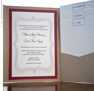 The pocket-folder invitations matched the wedding's plum, nude, and gray color palette while the clean, formal design conveyed the wedding's style.