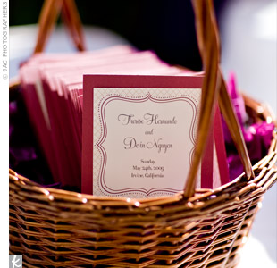 "The ceremony programs, which the couple's planner assembled, were mini folders that held ""tissues for tears"" as well as the names of their bridal party members and their sponsors, a Filipino tradition."