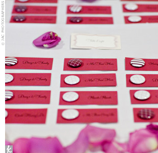 Therese printed guests' names and table assignments onto card stock, and the planner added plum and white-patterned buttons for a homespun look.
