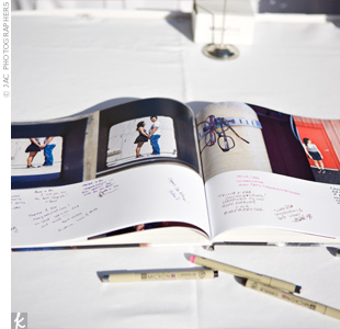 Using pictures from their engagement photo shoot, Therese and Devin created their own photo book through BookBlurb.com and used as a guest book.
