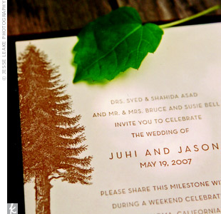 Even the invitation design included a redwood tree -- a nice touch that set the tone of the wedding to come.