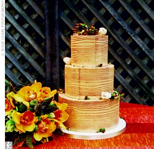 Inspired by the redwood trees, the couple's baker made frosting to look like bark.
