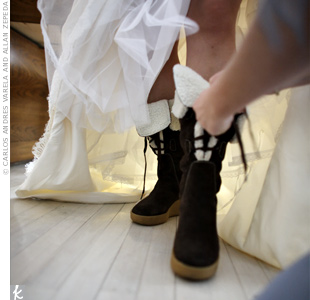 Not even a wedding gown could keep Melissa from lacing up her Michael Kors boots and hitting the snow for some photos.