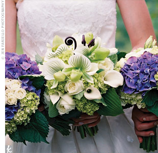 Green hydrangeas tied the bride's bouquet in with the bridesmaids'.