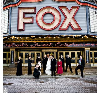 Julie and Vince went to a concert at The Fox on one of their first dates, so a picture in front of the famous Detroit theater was a wedding-day must.