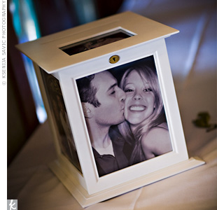 Julie and Vince bought a rotating photo-frame card box in which guests dropped their cards.