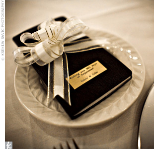 Julie and Vince gave their guests day planners for the New Year. The favors were labeled with a note: Wishing you 365 days of happiness!
